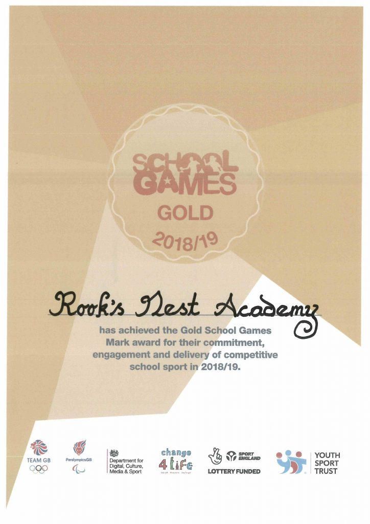 School Games Gold Rook's Nest